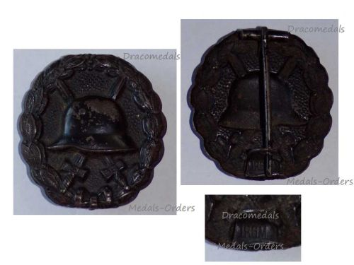 Germany Black Wound Badge Medal WW1 1914 1918 German Prussian Army Great War DRGM Decoration