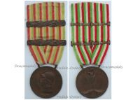 Italy WW1 Italian Unification Commemorative Medal for the War of 1915 1918 with 2 clasps 1917 1918 by Johnson