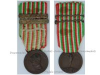 Italy WW1 Italian Unification Commemorative Medal for the War of 1915 1918 with 2 clasps 1917 1918 Unmarked