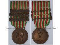 Italy WW1 Italian Unification Commemorative Medal for the War of 1915 1918 with 3 clasps 1916 1917 1918 by Johnson