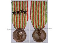 Italy WW1 Italian Unification Commemorative Medal for the War of 1915 1918 with 4 Bronze Stars for NCOs by Johnson