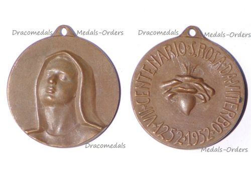 Italy Vatican St Rose of Viterbo Commemorative Medal 700 Years Death Anniversary 1252 1952 Catholic Church by Martini
