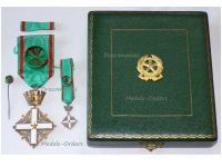 Italy Order Merit Italian Republic Officer's Cross 1951 with Miniature and Lapel Pin Boxed set
