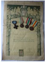 Italy WW1 4 Medal Set with Diploma to Lieutenant (Cross for War Merit, Italian Unification 1848 1918 by CBC, 1915 1918, Victory Interallied Medals by Johnson)