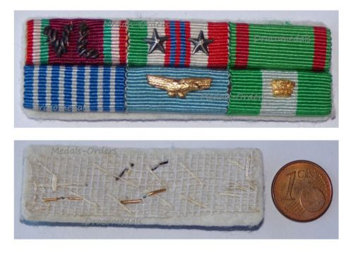 Italy WW2 Ribbon Bar 6 Medals Italian Air Force Pilot (Volunteers of Liberty, Commemorative 1943 1945, Army & Air Force Long Command Medal, Order of Merit of the Italian Republic Knight's Cross)