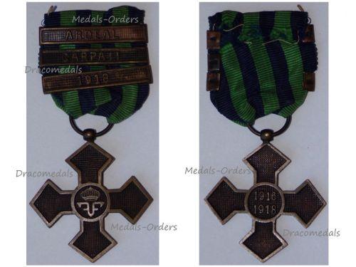 Romania WW1 Commemorative War Cross 1916 1918 with 3 Clasps (Ardeal, Carpati, 1918)