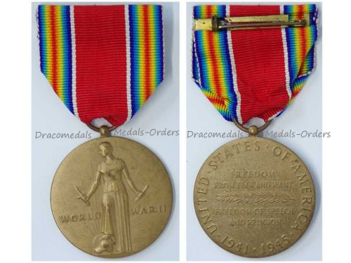 USA WWII Victory Commemorative Military Medal 2nd World War WW2 1941 1945 Decoration Award