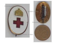 Austria Hungary WWI Volunteers Hungarian Red Cross Cap Badge by Boczan Great War WW1 1914 1918