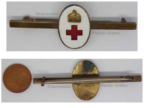 Austria Hungary WWI Volunteers Hungarian Red Cross Cap Badge Horizontal Pin Great War WW1 1914 1918