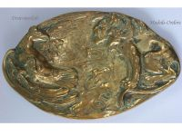 Belgium WW1 Trench Art Belgian Lion Prussian Eagle Desk Weight Military WWI 1914 1918 Great War Patriotic