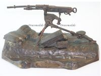 France Trench Art WW1 Hotchkiss Machine Gun M1914 Inkwell 4th Hussar Regiment by Ouveb
