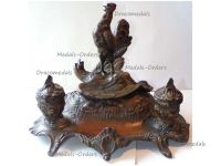 France Trench Art WW1 Patriotic Inkwell French Rooster Victorious German Eagle by Bossu