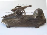 France Trench Art WW1 Artillery Gun Howitzer 75mm M1897 French Military Inkwell 1914 1918 Great War Patriotic Ouveb