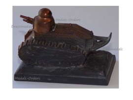 France Trench Art WW1 Renault FT17 Tank French Military Desk Weight Great War 1914 1918 Numbered