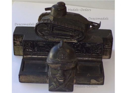 France Trench Art WW1 505 Tank Regiment Renault FT17 French Military Inkwell WWI 1914 1918 Great War Patriotic by Malespina