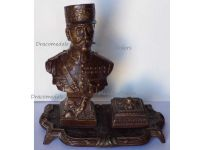 France Trench Art WW1 Marshal Foch Bust Inkwell Statuette Military French WWI 1914 1918 Great War by Carlier