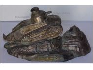 France Trench Art WW1 501 Tank Regiment Renault FT17 French Military Inkwell WWI 1914 1918 Great War Patriotic by Ouveb