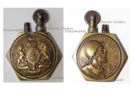 Britain France WW1 Petrol Lighter Trench Art British Royal Coat Arms French Soldier On Les A
