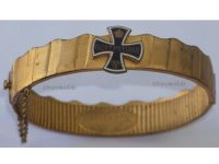 Germany  Bracelet Iron Cross EK1 Gott mit Uns Patriotic Trench Art WW1 1914 1915 Prussia Veterans Great War