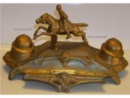 France Trench Art WW1 Cavalry Adrian Helmet Military Inkwell French WWI 1914 1918 Great War Patriotic