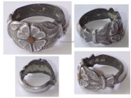 France Trench Art WW1 Soldier's Ring Four Leaf Clover in Aluminum