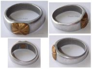 France Trench Art WW1 Soldier's Ring Four Leaf Clover in Aluminum with Bronze Center