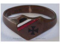Germany WW1 Ring Patriotic Iron Cross EK1 Prussian Flag Trench Art 1914 German Bronze Great War