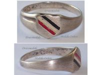 Germany WW1 Ring Patriotic Prussian Flag Trench Art WWI 1914 1916 German Prussia Great War Silver 800
