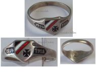 Germany WW1 Ring Patriotic Iron Cross EK1 Trench Art 1914 1916 German Silver 800 Prussia WWI 1918 Great War