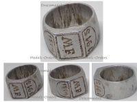 Germany WW1 Patriotic Ring Aluminum Initials MF 1914 1916