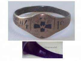 Germany WW1 Ring Patriotic Iron Cross EK1 Trench Art 1914 1918 German Silver 800 Great War